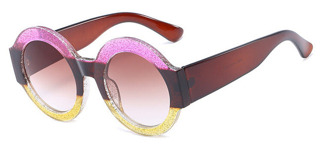 ROUND FRAME GRADIENT LENS SUNGLASSES SUNglasses - Zia Clothing Company