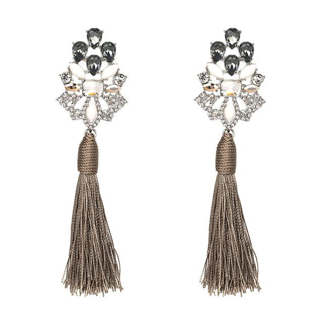CRYSTAL TASSEL EARRINGS Accessories - Zia Clothing Company