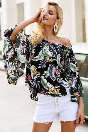 FLORAL OFF SHOULDER BLOUSE AVA Top - Zia Clothing Company