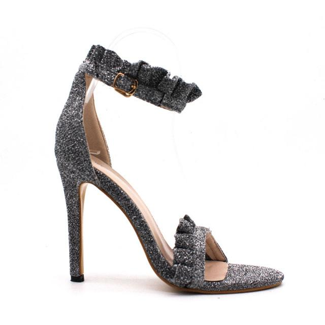 BUCKLE STRAP HIGH HEELED SANDALS Shoes - Zia Clothing Company
