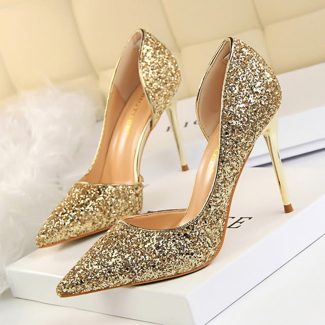 GLITTER HIGH HEELED PARTY SHOES Shoes - Zia Clothing Company
