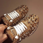 LEATHER RHINESTONES SNEAKERS Shoes - Zia Clothing Company