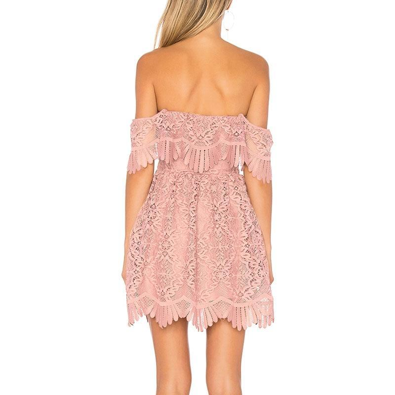 OFF SHOULDER LACE DRESS Dress - Zia Clothing Company