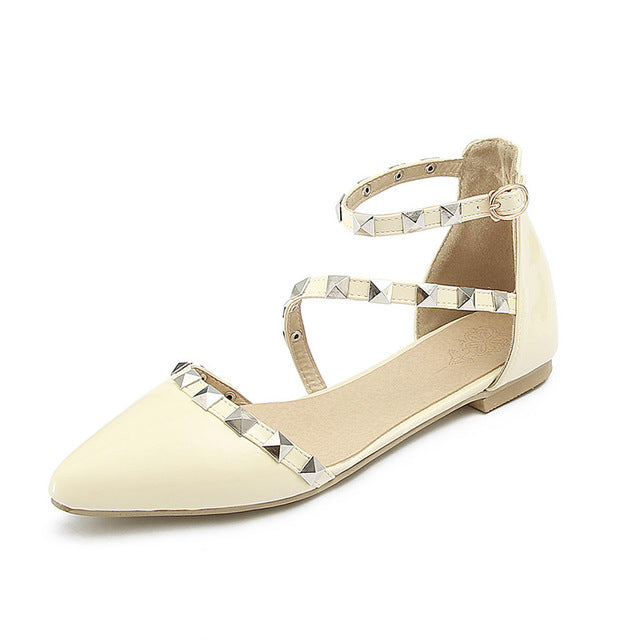 ANKLE CROSS STRAP FLATS Shoes - Zia Clothing Company