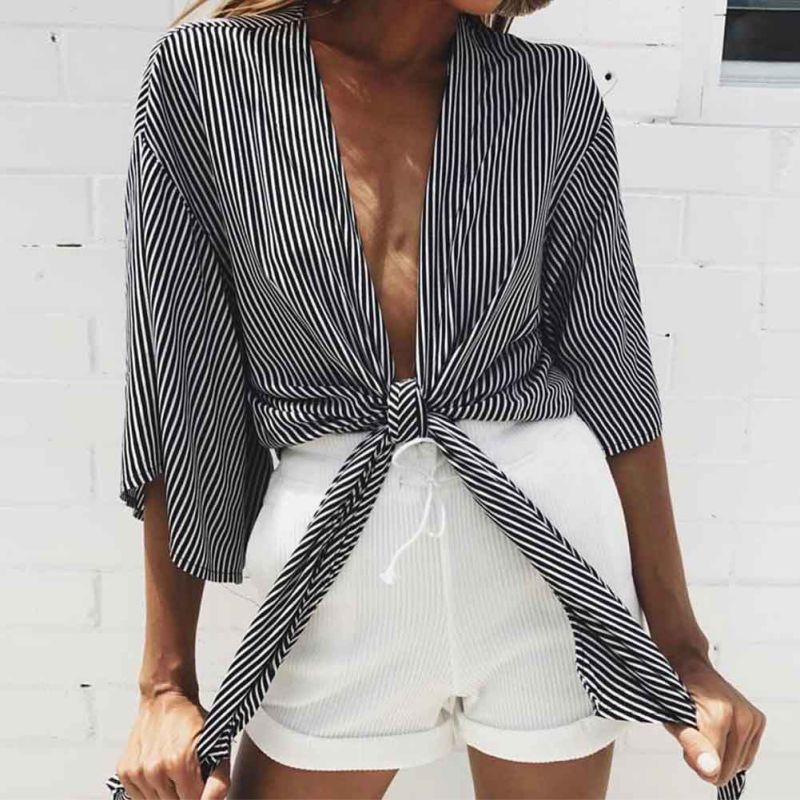 STRIPED DEEP V NECK BLOUSE Tops - Zia Clothing Company