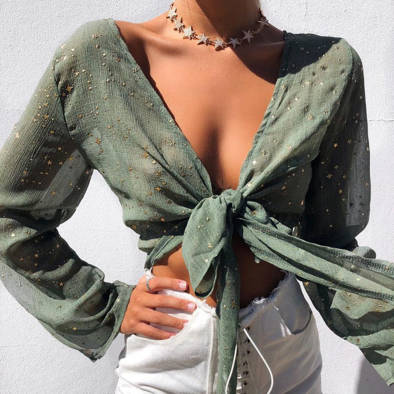 SEXY SUMMER LACE UP BLOUSE Top - Zia Clothing Company