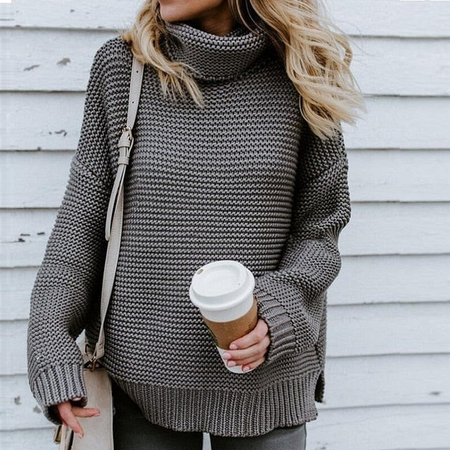 RIBBED TURTLENECK PULLOVER