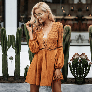 Suede style boho v neck dress with lace detail