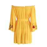 yellow off the shoulder embroidery dress