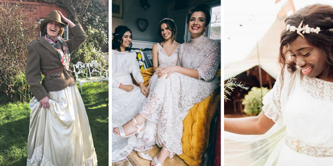 Three shots of happy customers wearing vintage and antique bridal gowns. The first shot shows a girl laughing whilst holding onto her cowboy hat, she wears and Edwardian style gown. The second shot shows three girls sat inside a gipsy caravan, all in antique lace wedding dresses, laughing into the camera. The third shot shows a bride holding out her train and glancing down at her Edwardian lace wedding dress with a shy smile.