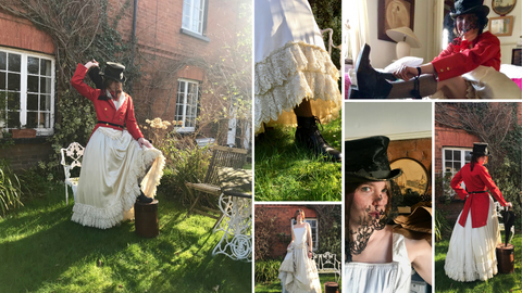 Greatest showman inspired wedding look bride in red hunting tails and a silk top hat with black antique lace veil, teamed with a reproduction Victorian wedding dress and sturdy boots . Quirky unique bride in boots bride in red