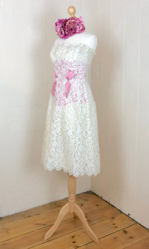 Stunning 1960's wedding dress in French lace with raspberry pink silk taffeta inserts. sixties wiggle dress style