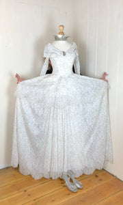 Wear this stunning vintage wedding dress with paniers for a Vivienne Westwood style 18th century feel