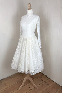 simple and elegant long sleeved prom dress - ivory lace fifties wedding dress