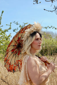incredible show girl style headdress made with pampas grass - sustainable vintage elegance for the eco conscious bride