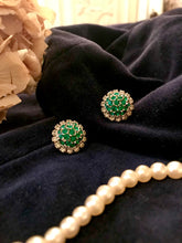 pretty emerald and diamond style fake gem earrings from the fifties - original vintage