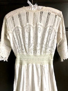 Antique Edwardian wedding dress - original lace and cotton lawn, winter white with a hint of ivory. UK size 8-10 (US 6-8, EU 36-38)