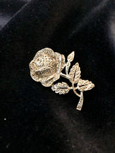 perfect for disney bounding as Belle - a beautiful vintage marcasite rose brooch fit for a princess