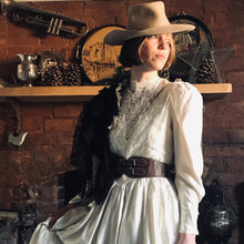 Edwardian replica gown - 1990's vintage. Guipure lace and ivory satin, long puff sleeves - boho prairie. UK size 10-12 (US 8-10, EU 38-40)