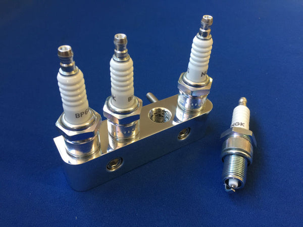 POLISHED ALUMINIUM 4 CYLINDER SPARK PLUG HOLDERS (SALE!!!!!)