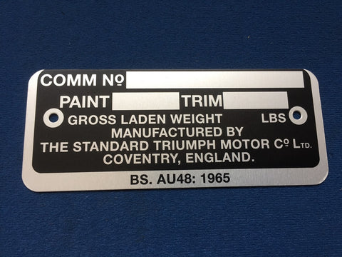 TR5 COMMISSION PLATE
