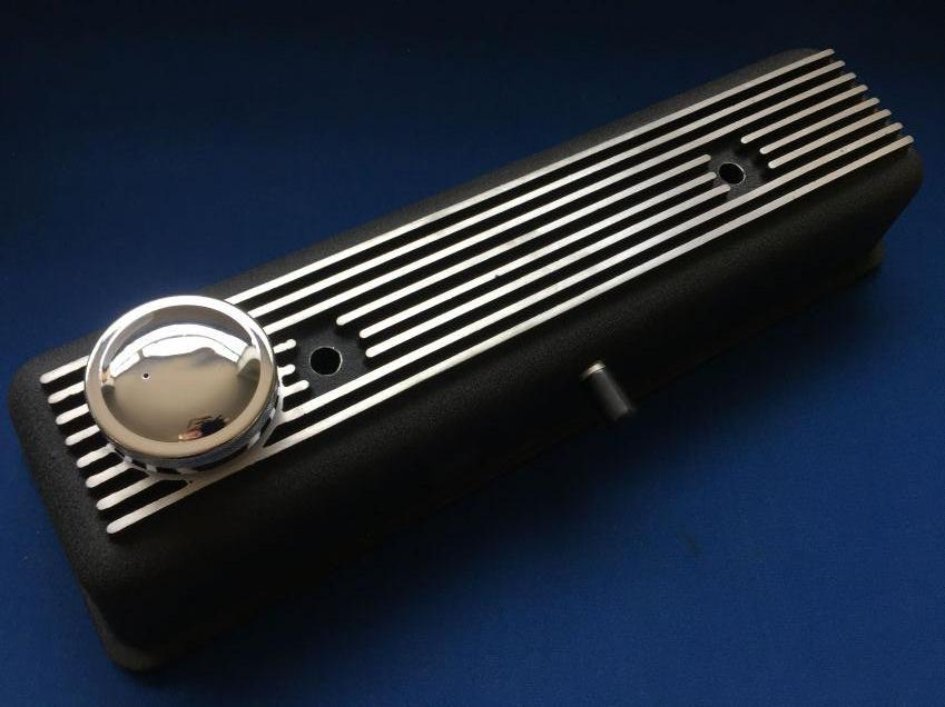 TR2-4A ALLOY ROCKER COVER VENTED IN BLACK CRACKLE FINISH