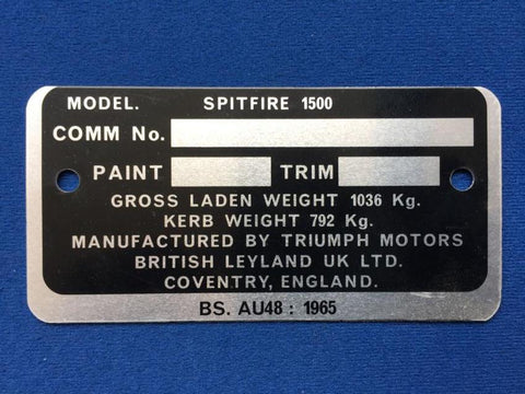 SPITFIRE 1500 COMMISSION PLATE