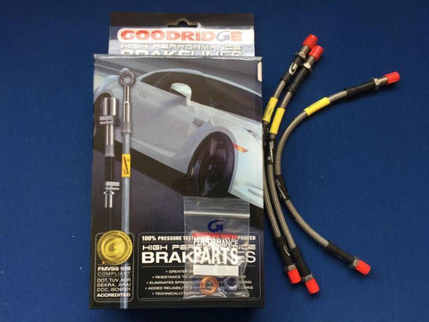 TR2-3 STAINLESS STEEL BRAIDED BRAKE HOSE SET (LOCKHEED SYSTEM)