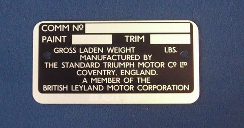 EARLY TR6 USA COMMISION PLATE