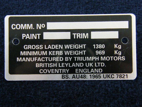TR6 COMMISSION PLATE CP54501>CR