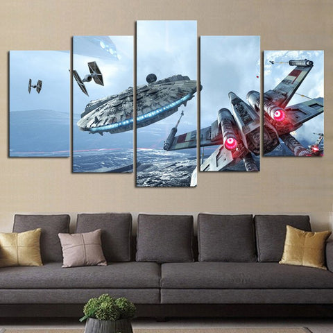"Canva HD Star Wars 5 cadres Faucon Millenium / X-Wing / Tie Fighter - ""Dog Fight"","