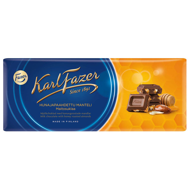 Karl Fazer Milk chocolate and honey roasted almonds 200 g - Fazer Candy Store