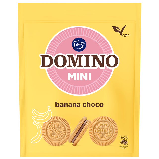 Domino Mini Banana Chocolate 99 g - Fazer Candy Store