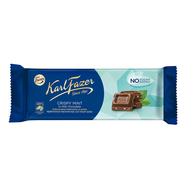 Karl Fazer Crispy Mint milk chocolate 70 g, no sugar added - Fazer Candy Store