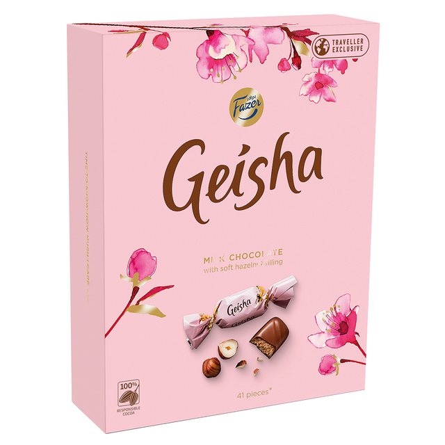 Geisha Milk chocolates with soft hazelnut filling 295 g - Fazer Store EN