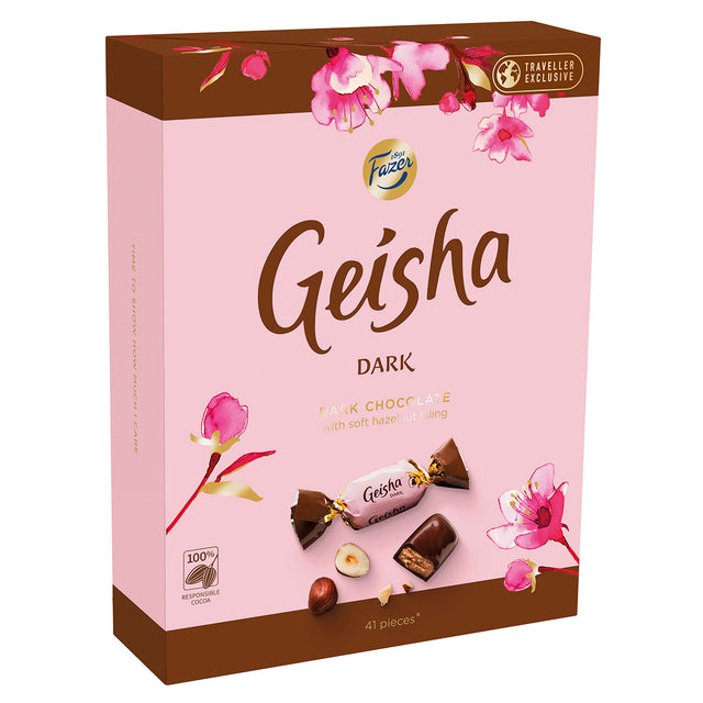 Geisha Dark chocolates with soft hazelnut filling 295 g - Fazer Store EN