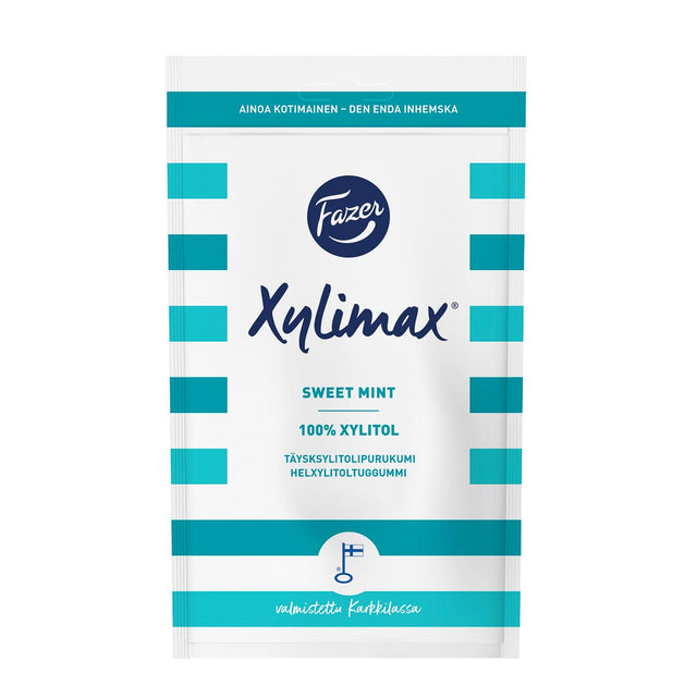 Xylimax Swiss Mint full xylitol chewing gum 80 g - Fazer Candy Store