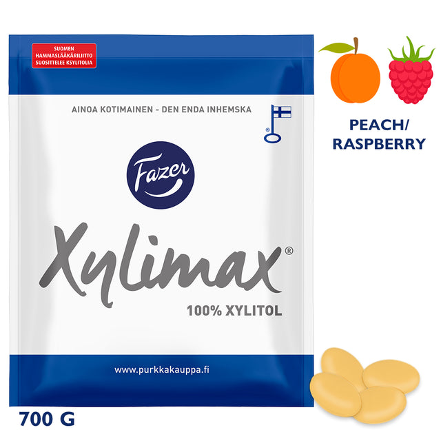 Xylimax Peach & Raspberry Full Xylitol Pastilles 700 g - Fazer Candy Store