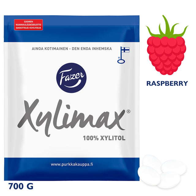 Xylimax Raspberry Full Xylitol Pastilles 700 g - Fazer Candy Store