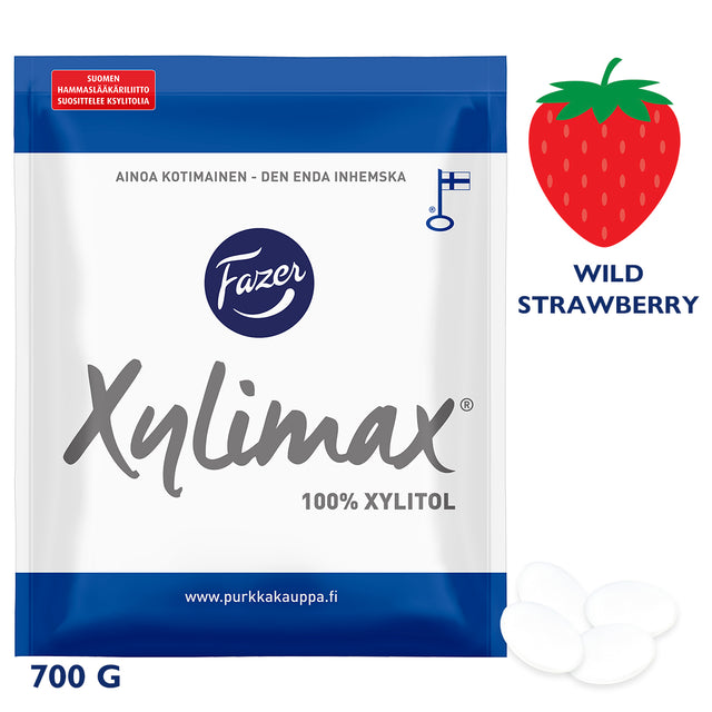 Xylimax Wild Strawberry Full Xylitol Pastilles 700 g - Fazer Candy Store