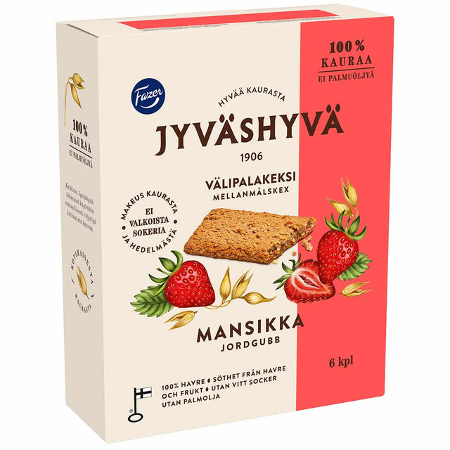 Jyväshyvä snack biscuit strawberry 180 g