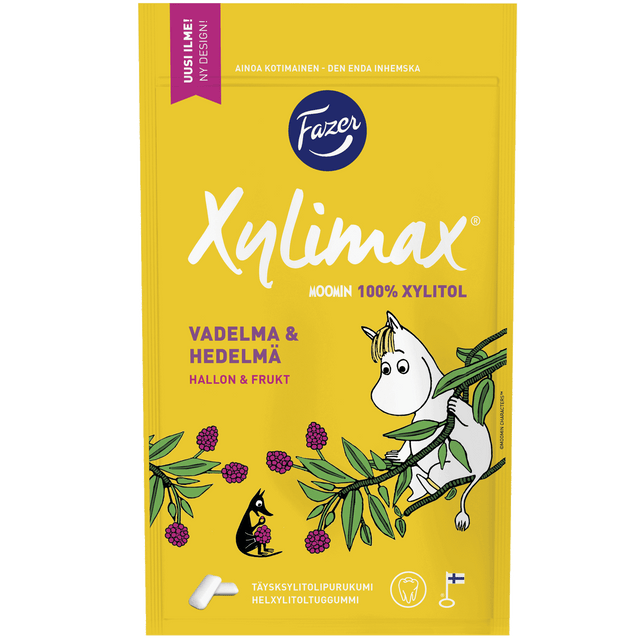 Xylimax Moomin Raspberry & Fruit chewing gum 100 g - Fazer Candy Store
