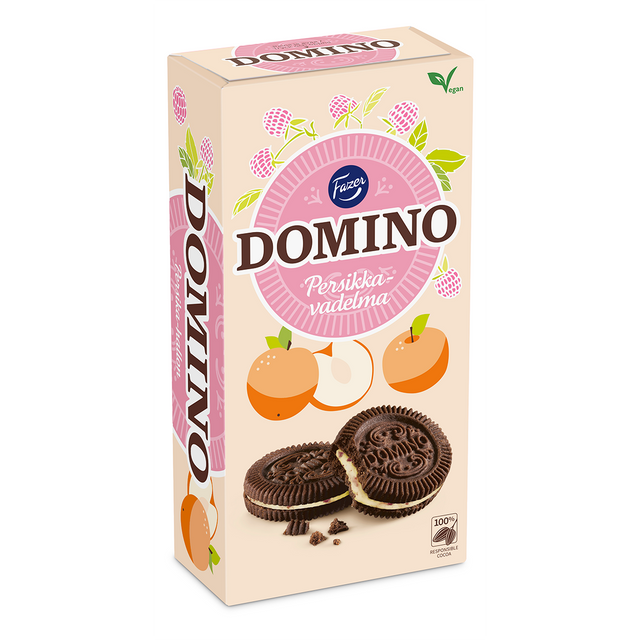 Domino Biscuit Peach-raspberry 350 g - Fazer Candy Store
