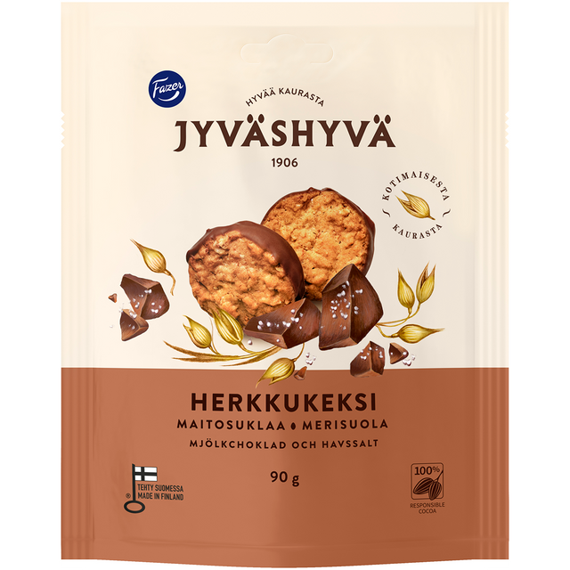 Jyväshyvä Herkkukeksi Milk chocolate and sea salt 90 g - Fazer Candy Store