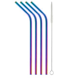 Metallic Rainbow Bent Stainless Steel Straw (4 pack)