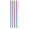Metallic Rainbow Straight Stainless Steel Straw (4 pack)