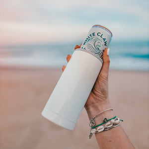 Slim Can Cooler Ice White