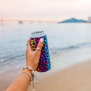 Slim Can Cooler Neon Leopard