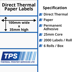 100 x 35mm Direct Thermal Paper Labels With Permanent Adhesive on 25mm Cores - TPS1000-20