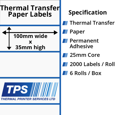 100 x 35mm Thermal Transfer Paper Labels With Permanent Adhesive on 25mm Cores - TPS1000-21